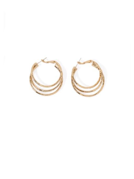 golden Brass Geometric Vintage Huggie Earring