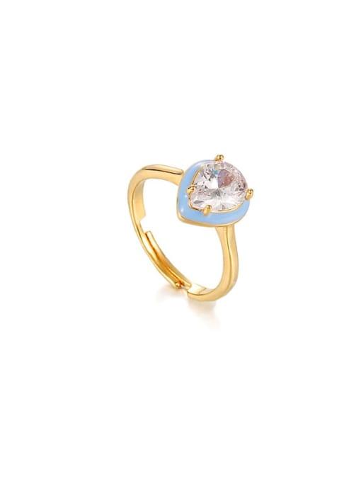 ACCA Brass Enamel Cubic Zirconia Water Drop Vintage Band Ring