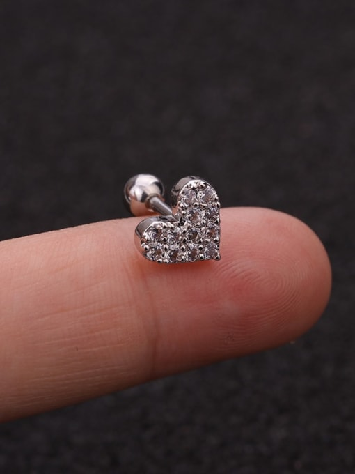 9(Single) Brass Cubic Zirconia Ball Cute Stud Earring
