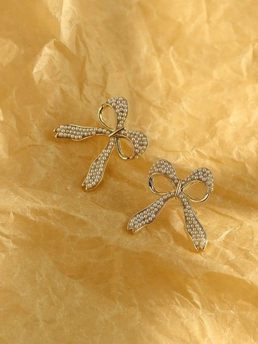 HYACINTH Brass Cubic Zirconia Bowknot Ethnic Stud Earring 3