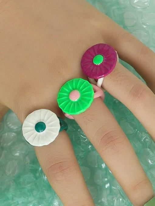 Five Color Zinc Alloy Enamel Flower Minimalist Band Ring 2