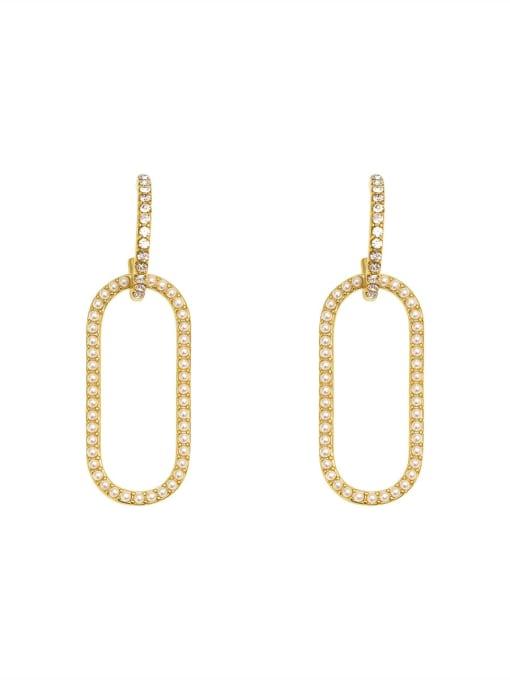 HYACINTH Copper Imitation Pearl Geometric Vintage Drop Earring 0