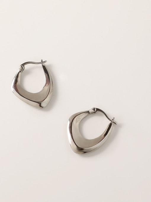 white K Brass Hollow Geometric Vintage Stud Trend Korean Fashion Earring
