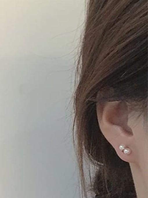 Five Color Alloy Imitation Pearl Geometric Cute Stud Earring 1