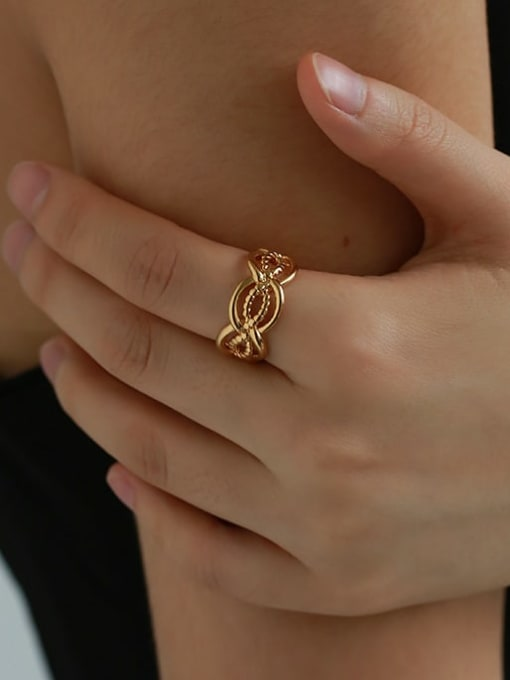 Five Color Brass Hollow Geometric Vintage Band Ring 1
