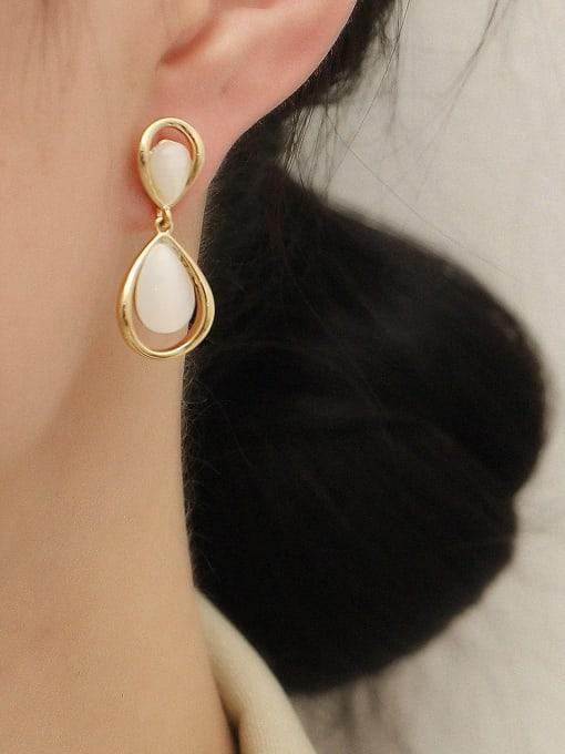 HYACINTH Brass Cats Eye Water Drop Vintage Drop Earring 1