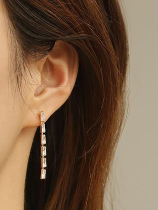 ACCA Bronze Cubic Zirconia Tassel Minimalist Threader Earring 2