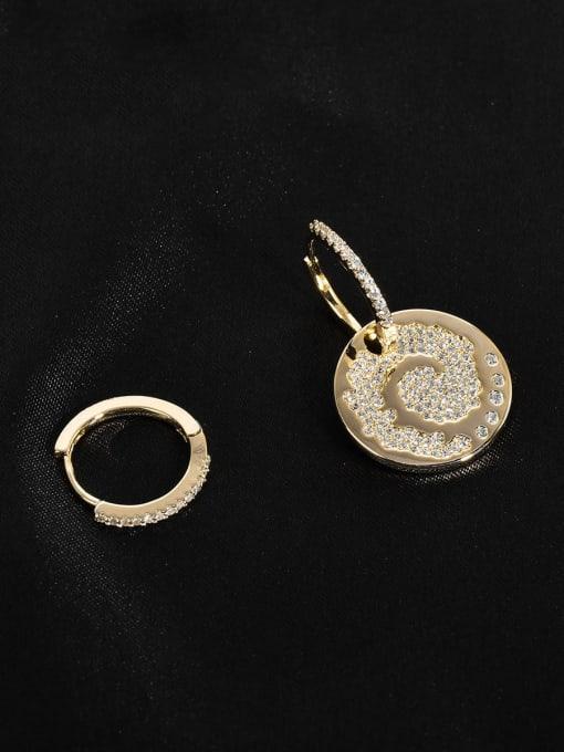 Style 2 Galaxy Brass Cubic Zirconia Geometric Minimalist Huggie Earring