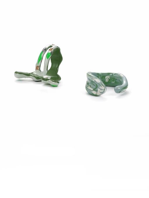 Five Color Zinc Alloy Enamel Geometric Minimalist Band Ring 2