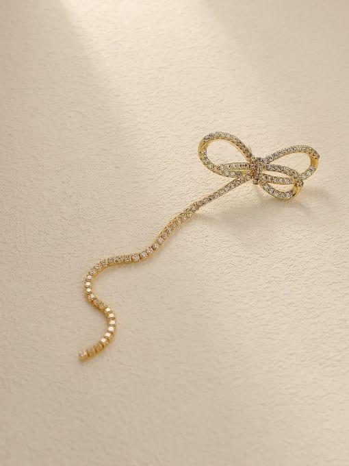 HYACINTH Brass Cubic Zirconia Bowknot Tassel Vintage Single Earring