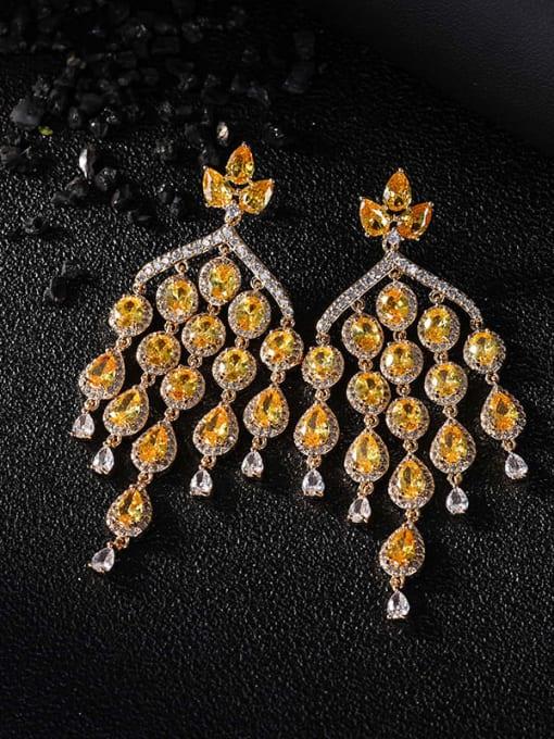 OUOU Brass Cubic Zirconia Tassel Luxury Cluster Earring 1