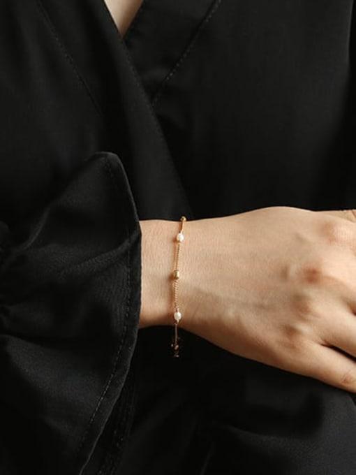 ACCA Brass Freshwater Pearl chain Vintage Link Bracelet 1