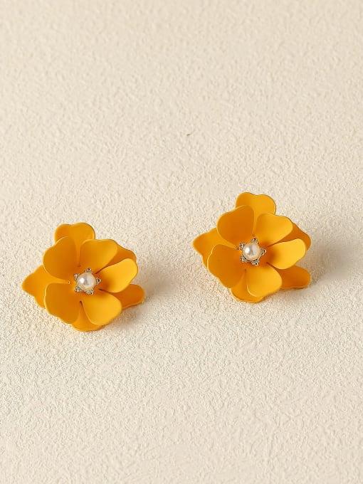 HYACINTH Brass Enamel Flower Cute Stud Trend Korean Fashion Earring 2