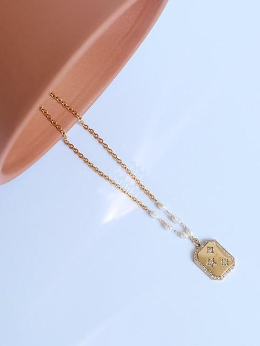 Five Color Brass Imitation Pearl Star Vintage Necklace 2