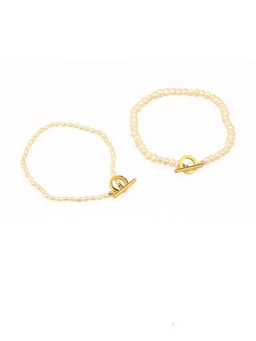 ACCA Brass Freshwater Pearl Geometric Vintage Bracelet 3