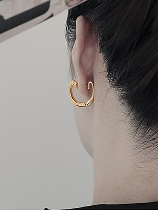 TINGS Brass Geometric Minimalist Huggie Earring 2
