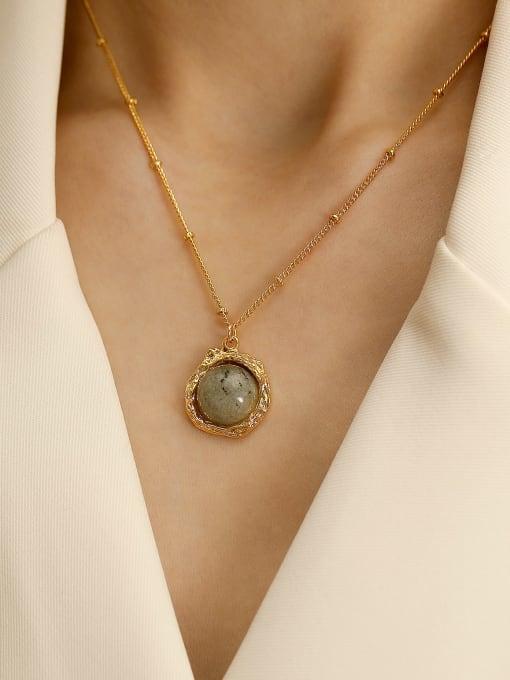 HYACINTH Brass Glass Stone Geometric Vintage Necklace 1