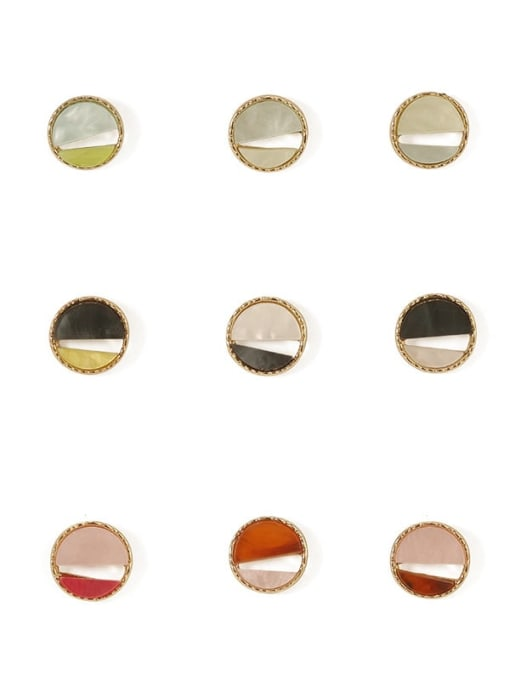 Five Color Alloy Enamel  Cute Round Contrasting Color  Stud Earring 3