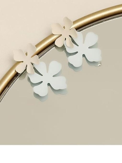 White blue Brass smooth Flower Minimalist Drop Earring