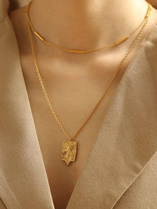 ACCA Brass Lion Vintage round pendant Necklace 2
