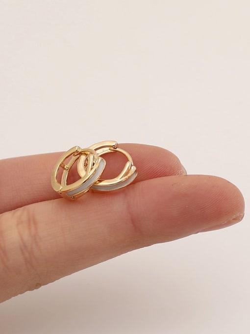 HYACINTH Brass Cubic Zirconia Geometric Minimalist Huggie Earring