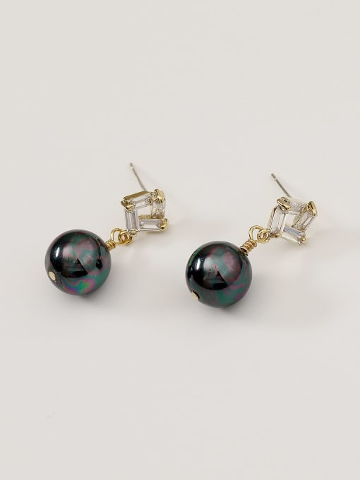 HYACINTH Brass Imitation Pearl Geometric Vintage Drop Earring 0