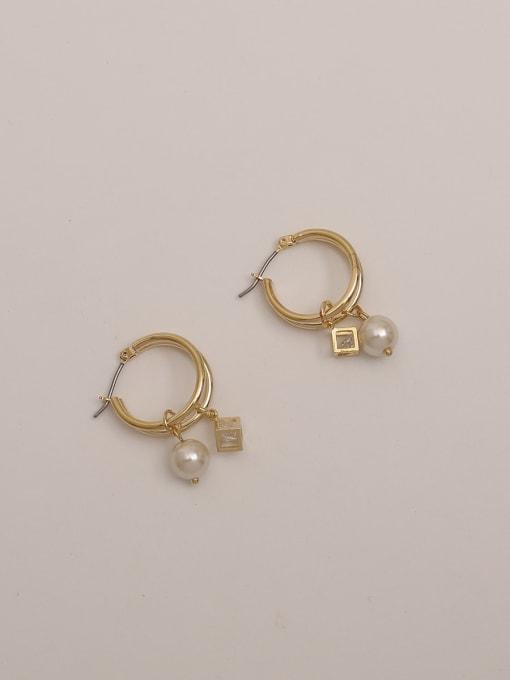 HYACINTH Brass Cubic Zirconia Round Vintage Huggie Earring 2