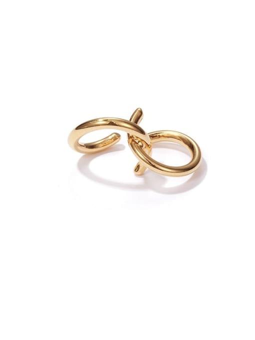 ACCA Brass Line Irregular Vintage Stud Earring(Single) 4