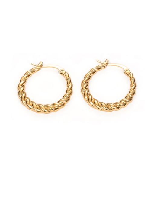 Twist ear buckle Brass Geometric Vintage Hoop Earring