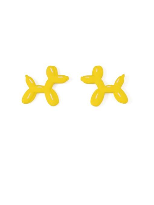 Bright yellow Alloy Enamel Dog Cute Stud Earring