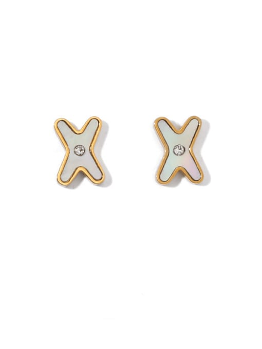 golden Brass Shell Letter Minimalist Stud Earring