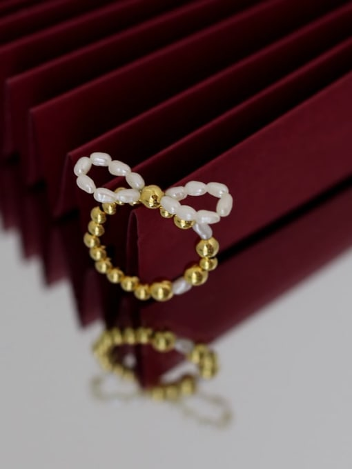 Five Color Brass Freshwater Pearl Bowknot Hip Hop Band Ring