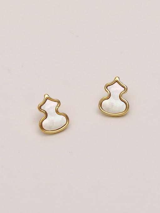 HYACINTH Brass Shell Irregular Minimalist Stud Earring 3