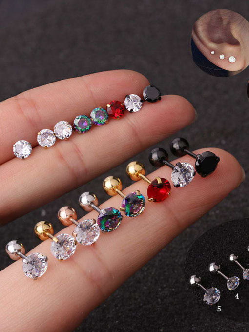 HISON Stainless steel Cubic Zirconia Multi Color Ball Minimalist Stud Earring