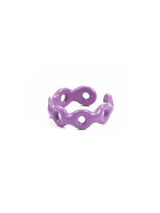 Purple drop oil Zinc Alloy Enamel Geometric Minimalist Band Ring