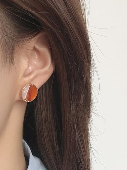 Five Color Alloy Enamel  Cute Round Contrasting Color  Stud Earring 1