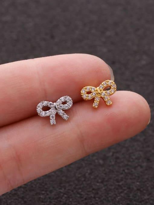 HISON Brass Cubic Zirconia Bowknot Cute Stud Earring(Single)