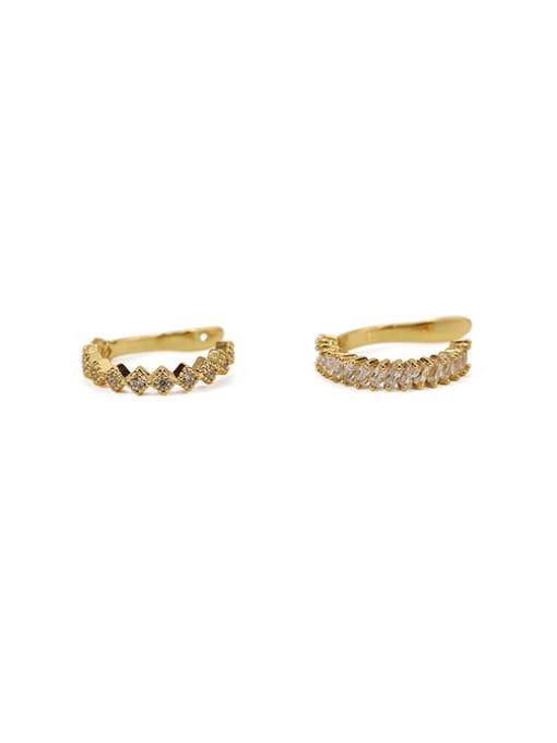 ACCA Brass Cubic Zirconia Geometric Vintage Clip Earring