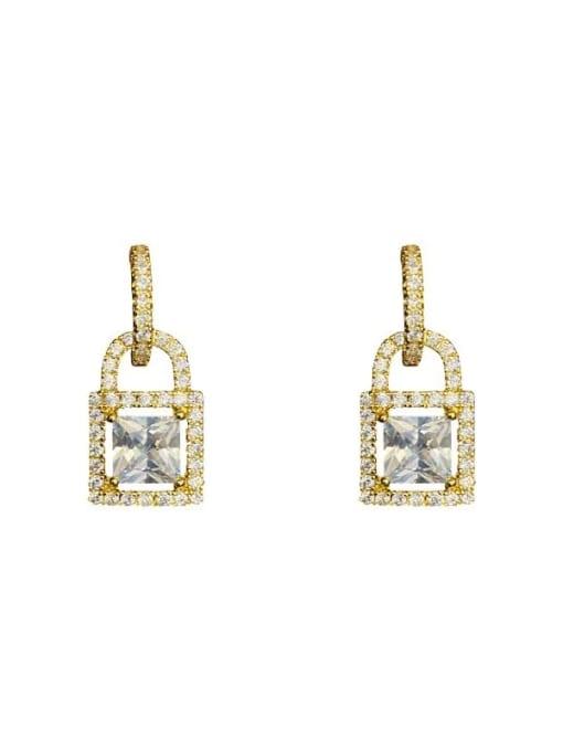 OUOU Brass Cubic Zirconia Locket Minimalist Huggie Earring