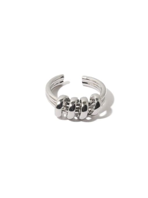 Platinum ring Brass Line Wrapping  Hip Hop Band Ring