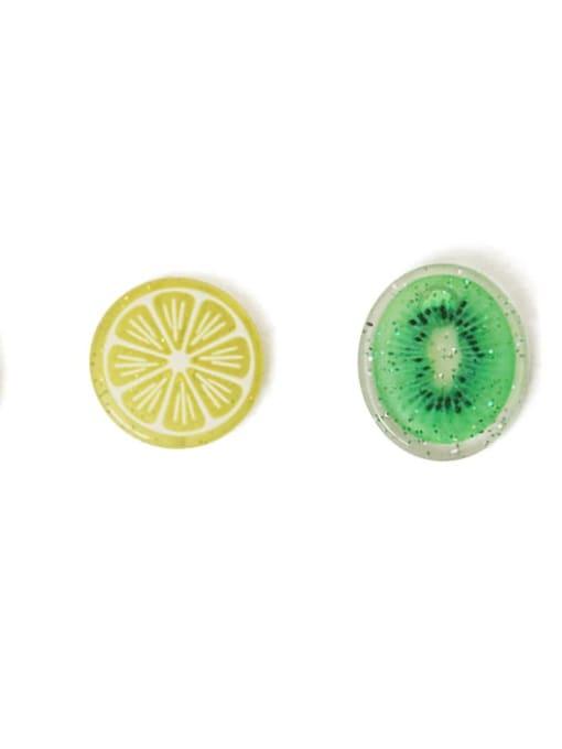 Five Color Alloy Resin Enamel Heart Cute Stud Earring 3