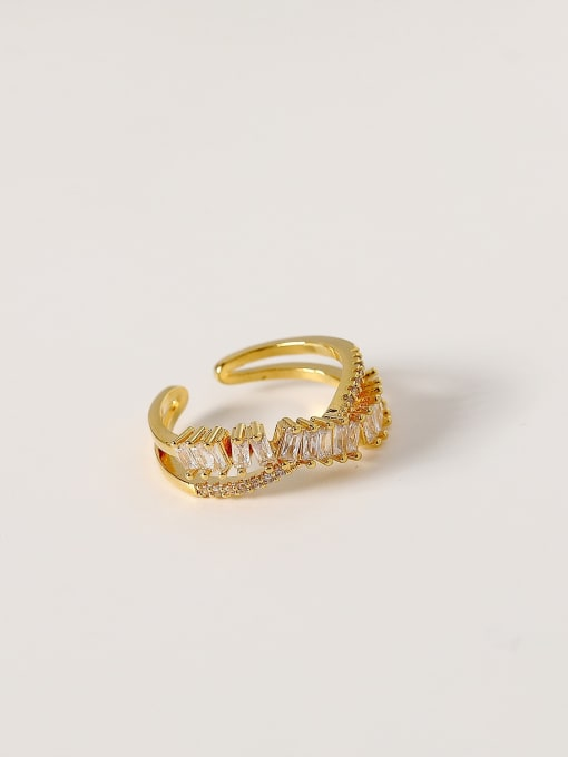 HYACINTH Brass Cubic Zirconia Irregular Hip Hop Band Ring 0