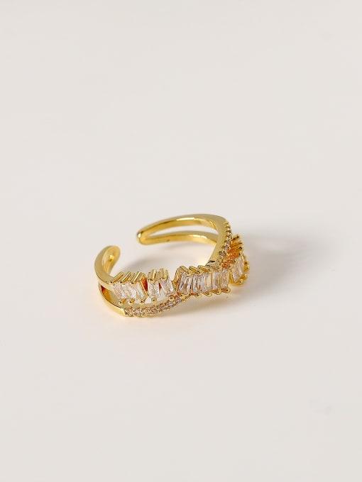 HYACINTH Brass Cubic Zirconia Irregular Hip Hop Band Ring