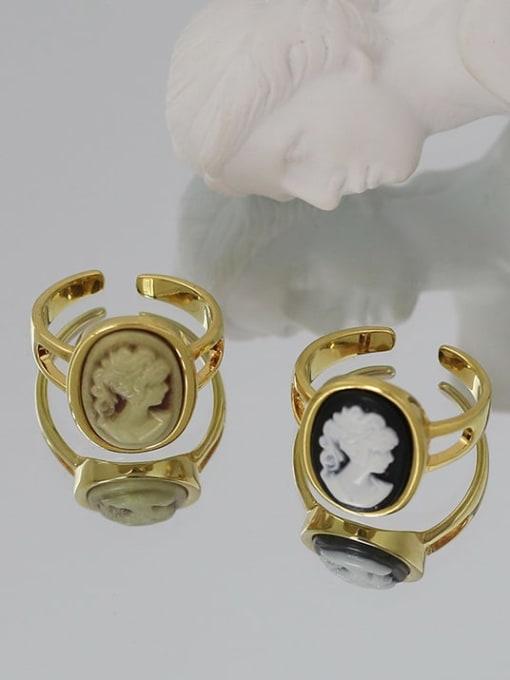 Five Color Brass Acrylic Geometric Vintage  Portrait Band Ring 2