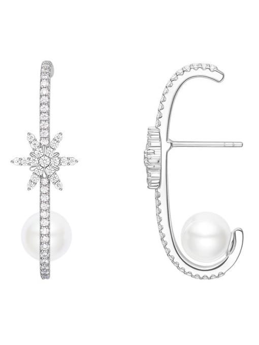 Snowflake series Brass Cubic Zirconia Heart Statement Drop Earring