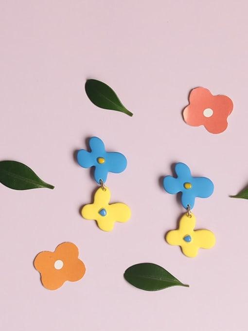 Five Color Alloy Enamel Flower Cute Drop Earring 2