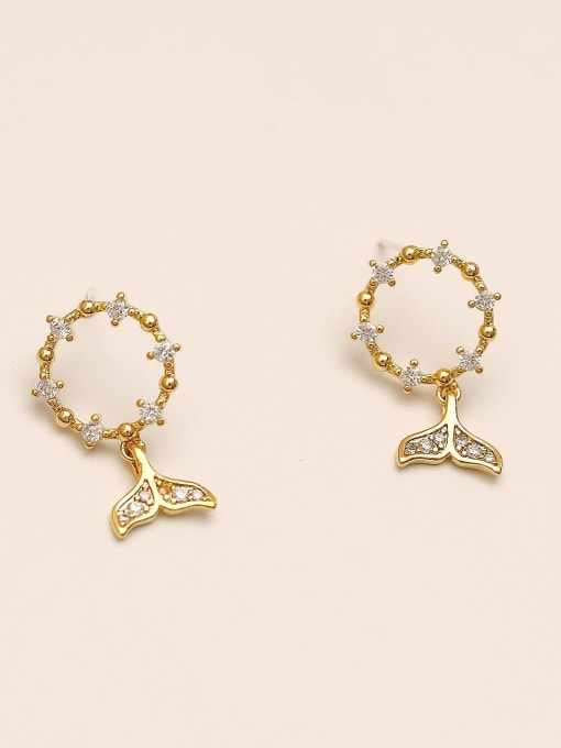 14k Gold Brass Cubic Zirconia Fish Vintage Stud Earring