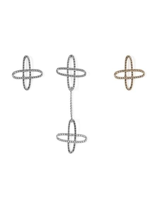 ACCA Brass  Vintage Asymmetric star Drop Earring 3
