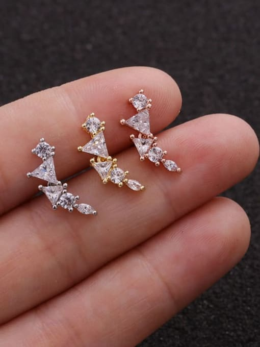 HISON Copper with Cubic Zirconia White Star Dainty Stud Earring(Single) 3