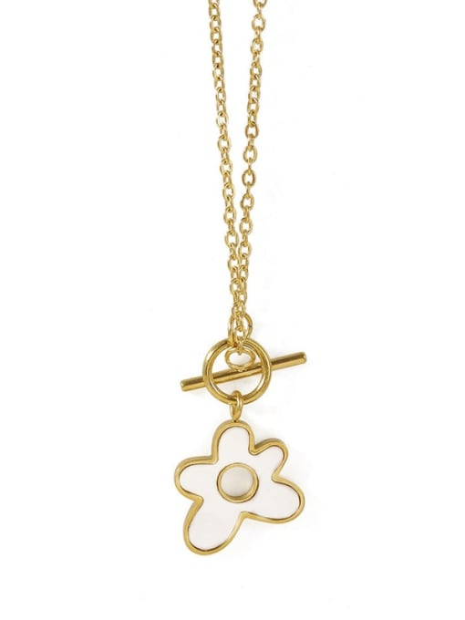 ACCA Brass Shell Flower Minimalist Pendant Necklace 3